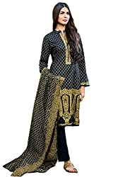 Lebaas Black Printed Cambric Cotton Dress Material (With Discount and Sale)