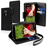 myLife Elegant Black {Classic Design) Faux Leather (Multipurpose – Card, Cash and ID Holder + Magnetic Closing) Folio Slimfold Wallet for the LG G2 Smartphone (External Textured Synthetic Leather with Magnetic Clip + Internal Secure Snap In Closure Hard Rubberized Bumper Holder) by NYC Leather Factory Outlet