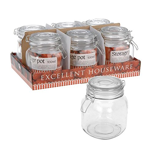 Best Deal ToCi Set of 6 Glass Storage Jar with Clip Lock