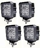 [GFproduct]四角型27w×4点セット LED ワークライト/作業灯 広角 10~30V対応 3w×9連
