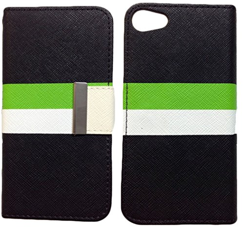 Mylife Dark Black + Bright White + Lime Green {Two Stripe Design} Faux Leather (Card, Cash And Id Holder + Magnetic Closing) Slim Wallet For The Iphone 5C Smartphone By Apple (External Textured Synthetic Leather With Magnetic Clip + Internal Secure Snap I