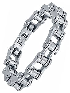 "Stainless Steel Men's Biker Bicycle Chain Polished Link Bracelet 8"" G7035TJ by Arco Iris Jewelry"