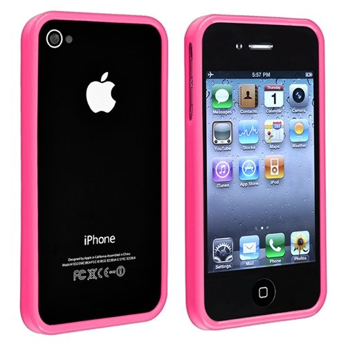 eForCity TPU Rubber Bumper Case compatible with Apple® iPhone® 4 / 4S, Pink Shiny