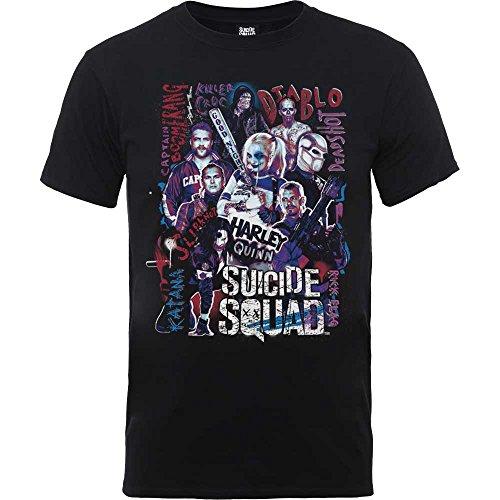 Suicidio-de-hombres-oficial-Escuadrn-Harley-Quinn-Character-Collage-camiseta-tebeos-de-la-CC