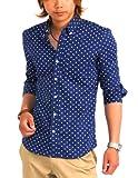シャツ メンズ ドット 七分袖 ドット柄 ボタンダウン Yシャツ カジュアル 【w056】 (M, ネイビー)