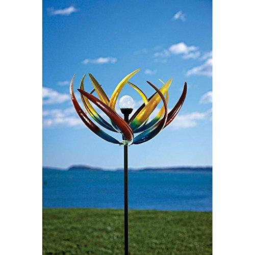 Solar Multi-Color Tulip Wind Spinner-Solar Powered Glass Ball - Unique Outdoor Garden Décor