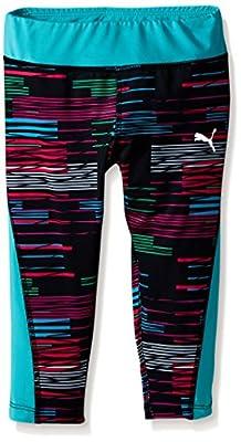 PUMA Girls' Stripe Printed Capri Legging