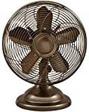 Optimus F-6212 Oscillating Antique Table Fan, 12-Inch, Copper