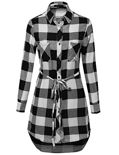 Super Cute Flannel Plaid Checker Shirts Dress with Belt Black Ivory M Size