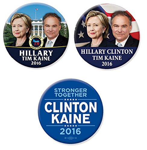 Cheapest Price! Just Released Hillary Clinton Tim Kaine 2016 Campaign Button Set of 3