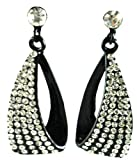 Small Black Diamante Costume Fashion Earrings
