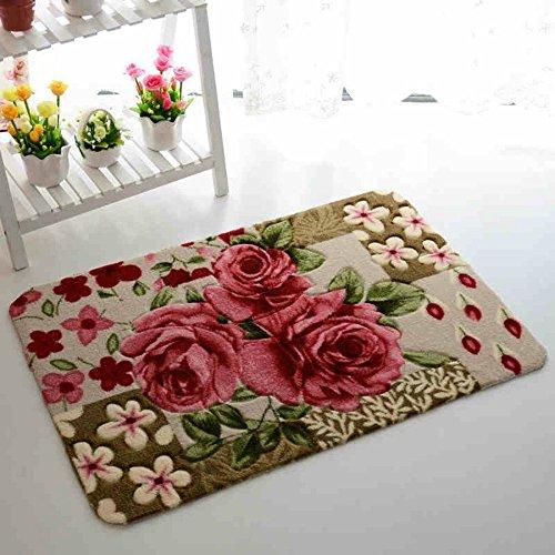Sytian Inch Rural Rug Rose Flower Rug Decorative Doormat Floor Mat Bath Mat Bedroom