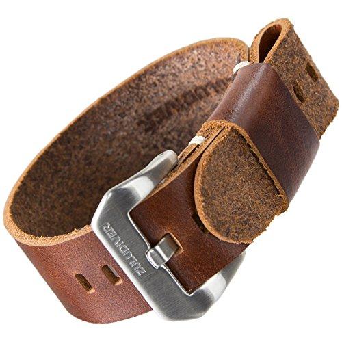 Cinturino orologio ZULUDIVER® Vera pelle USM NATO Marrone 22mm