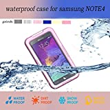 Samsung Galaxy Note 4 Waterproof case, Nika shop Ultra Water Resistant Waterproof Shockproof Crashproof Dustproof Dirt Proof Snow Proof Sand Proof Swimming Diving Hard Skin Protective Bumper Case Cover Defender with Impact Resistant Screen Protector Dirt Proof Durable Case Cover for Samsung Galaxy Note4 IV With Clear Screen Protector (1-Pink)