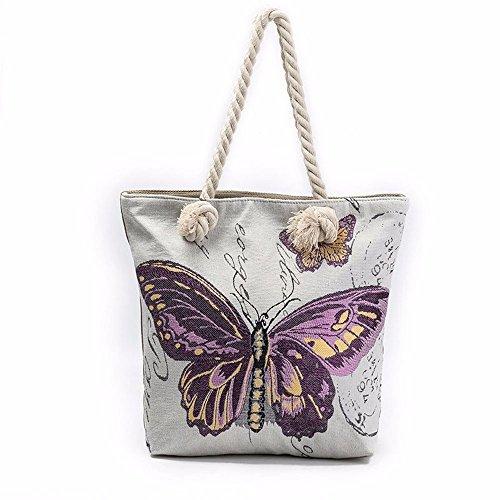 Longra borsa del computer portatile di stampa farfalla (Viola)