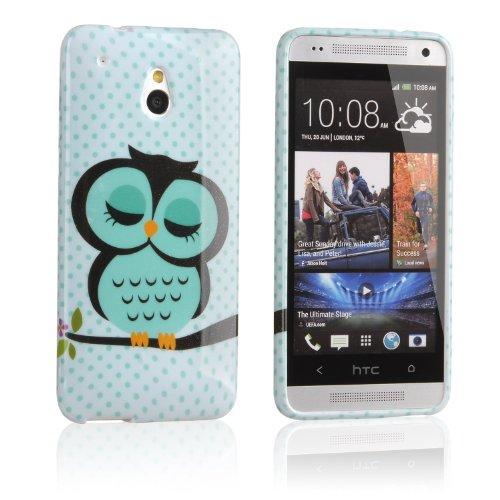 Vandot 2IN1 Mobile Phone Accessory For HTC ONE MINI M4 Soft TPU Silicone Back Case Cover Protection Protective Skin Shell Night Owl Polka Dot + 1x Stylus Touch Pen (Flexible color)- Green White Cute Cartoon OWL on the Tree Branch