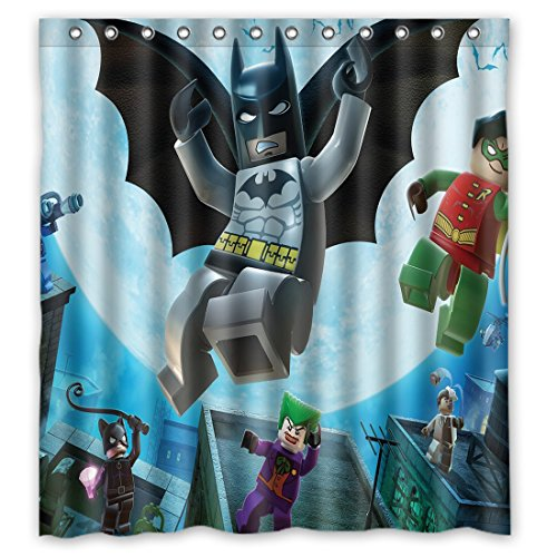 "Unusual Picture Video Games Adorable Lego Batman Waterproof Fabric Bathroom Shower Curtain 66"" x 72"""