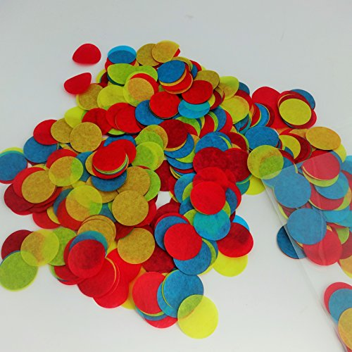 Confetti Circles 1 1/4 3 Different Colors Red Blue and Yellow