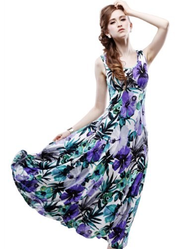 Maxchic Women's Empire Waist Sleeveless Stretch Floral Print Maxi Dress C42243S11M,Green,XX-Large