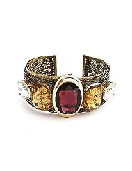 The Jewelbox Designer Free Size Brass Cuff Kada Bangle Bracelet Stones