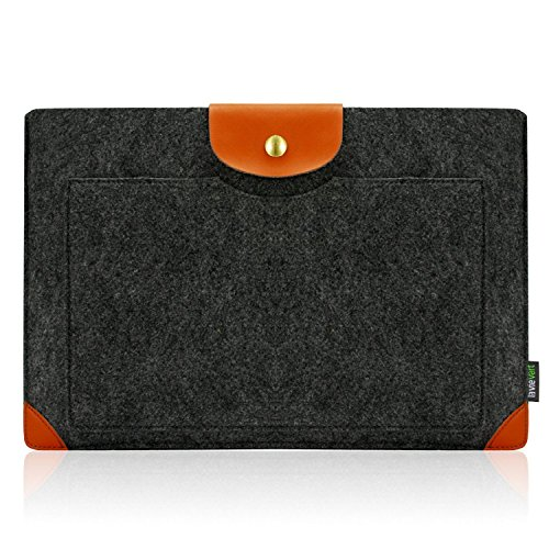 Lavievert Felt Sleeve Laptop Case with Brown Leather Bag for Apple 13'' Macbook Air / Pro Cover 13'' Macbook Retina Pro Gray Sleeve