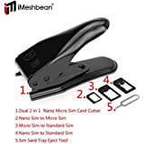 iMeshbean® Stainless Steel Universal 2 in 1 Cutting Edge Micro Nano Sim Card Cutter for iPhone4/4S 5 5G 5S 5C 5th Smartphone with 3 Micro Sim Card Adapters USA Seller