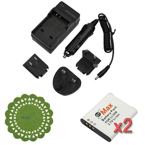 GTMax 2x LI-50B / D-LI92 Lithium-Ion Battery Travel AC Charger