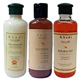 Khadi Mauri Herbal Hair Conditioner - Henna Sat Shampoo & Shikakai Hair Oil Combo Pack of 3 Ayurvedic Natural 210 ml each