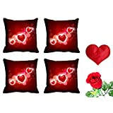 MeSleep Red Heart Valentine Cushion Cover (16x16) - Set Of 4 With Free Heart Shaped Filled Cushion And Artificial... - B01APFCGW4
