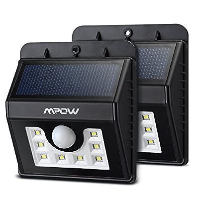 Mpow Solar Lights 2-Pack LED Motion Sensor Wall Light, Bright Weatherproof Security Outdoor Lighting