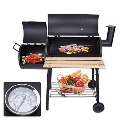 Ridgeyard-Backyard-Charcoal-Barbecue-Grill-BBQ-Offset-Smoker-Outdoor-Picnic-Garden-Patio-Heat-Oven-Combo-with-Wheel-Temperature-Gauge
