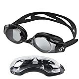 Smartdoo Black Swim Goggles With Anti Fog UV Protection No Leaking Shatterproof for Adult Men Women Youth Kids Children + Goggles Case, Silicone Ear Plugs and Interchangeable Nose Bridge