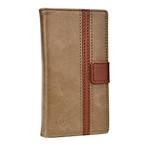 Jo Jo Cover Pluto Series Leather Pouch Flip Case For Lava Iris 400 Colours Dark Brown Light Brown