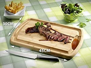 Meat carving board, reversible chopping board, Bamboo with juice reservoir
