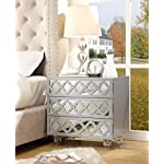 Inspired Home Pablo Light Grey Glossy Nightstand - 3-drawer | Mirrored | Side Table | Modern | Lucite Acrylic Legs