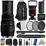 Sigma 70-300mm f/4-5.6 DG Macro Telephoto Zoom Lens for CANON DSLR Camera w/ Complete Flash, Photo and Travel Bundle