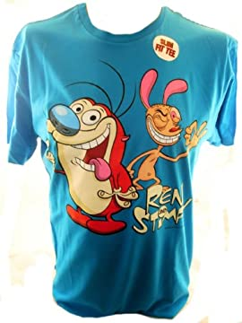 Ren and Stimpy Mens T Shirt - Classic Artwork of the Nickeloden Cartoon Team