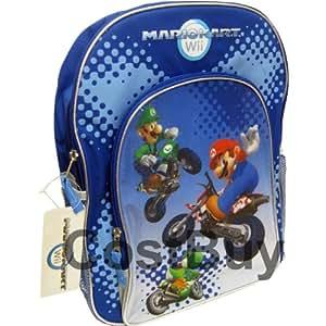 Mario Kart Wii Backpack Blue Silver with Mario Luigi Yoshi