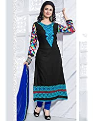 Utsav Fashion Women's Black And Multi Color Poly Cotton Readymade Churidar Kameez-XXXX-Small