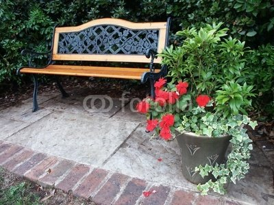Wallmonkeys Peel and Stick Wall Decals - Garden Bench - 24