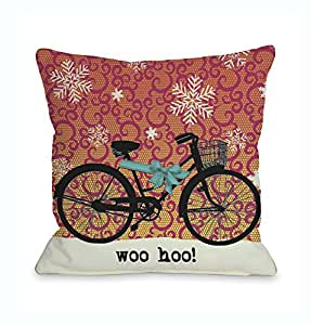 Buy bentin home decor woo hoo bike in snow throw pillow w for 70 bike decoration