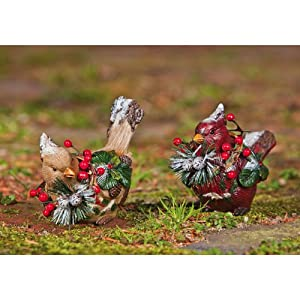 Christmas Woodland Birds Statues