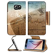 buy Msd Samsung Galaxy S6 Flip Pu Leather Wallet Case Old Vintage Postcard With Seascape And Space For Text Image 20607957