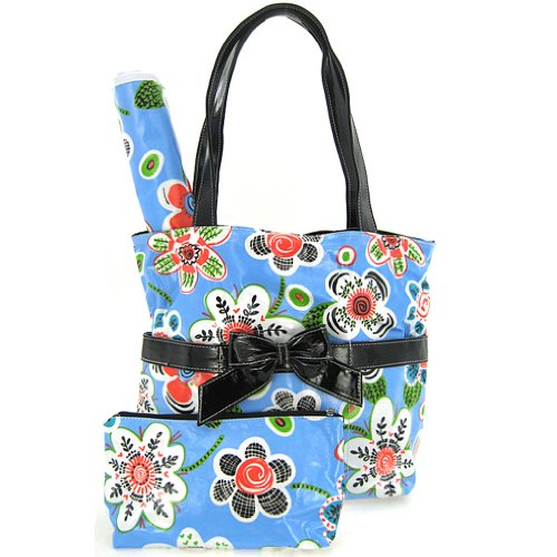 Happy Flowers Laminated Girls Diaper Bag Tote Purse 3 Piece Set (Blue)