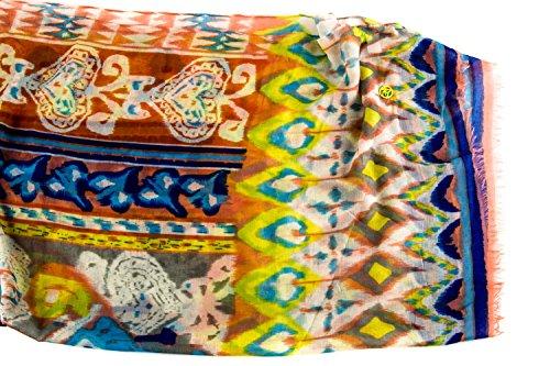Foulard mujer GIANMARCO VENTURI de chiffon motivos naranja bufanda L1224