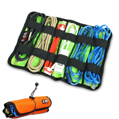 Damai Universal Wrap Cable/Pens Organizer Stable (Large, Orange)