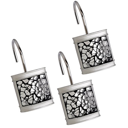 Creative Scents Shower Curtain Hooks - Set of 12 Shower Rings for Bathroom Shower Curtain Rod - 100% Rust Proof- Brushed Nickel Collection (Silver) (Curtain Rod Brushed Nickle compare prices)