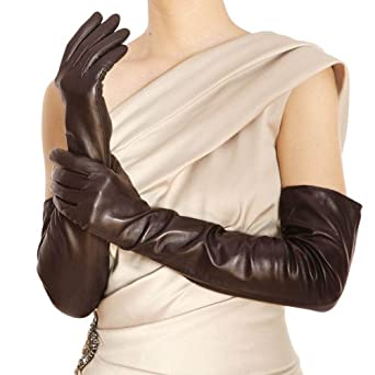 WARMEN Women Genuine Nappa Leather Elbow Long Fingerless Driving Gloves for Fur Coat (L, Brown)
