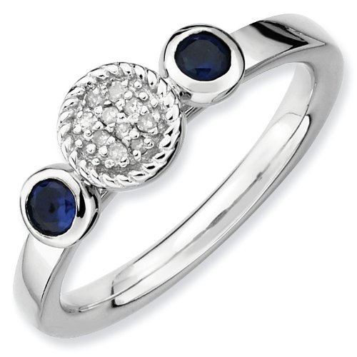 Sterling Silver Stackable Expressions Db Round Cr. Sapphire and Dia. Ring - Size 7 - JewelryWeb