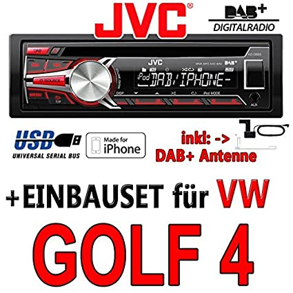 VW golf 4 iV jVC-kD-dB65-dAB autoradio cD/mP3/uSB avec dAB et antenne